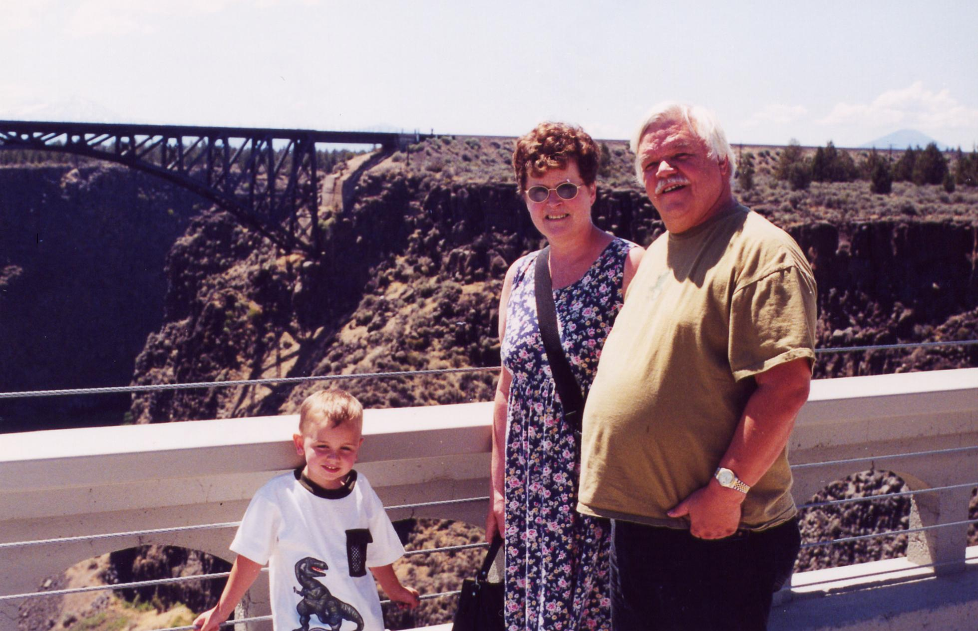 Paul on Right. First Wife Darlene, and Bobie on the New Crooked River Bridge, with old Bridge in the Background. July 2001